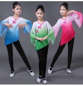Chinese folk dance costumes Girls classical dance ancient traditional yangko fan dancing photos drama cosplay tops and  leggings